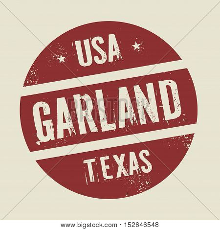 Grunge vintage round stamp with text Garland Texas vector illustration