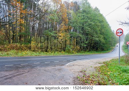 The asphalt forest road in rainy autumn day