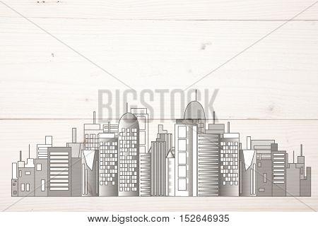 Office white skyline on light wooden background