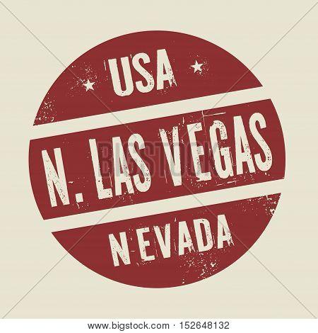 Grunge vintage round stamp with text North Las Vegas Nevada vector illustration