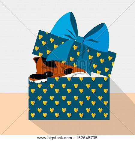 Design element for postcard invitation banner. Gift box with cute cat. Vector flat illustration. Greeting card.