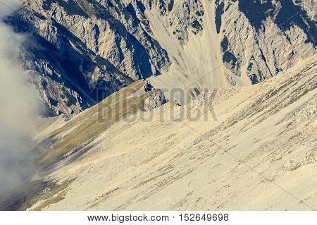Mountain slope finishing with a steep ridge. Ascending Stol, the heighest peak of Karavanke in Slovenia.