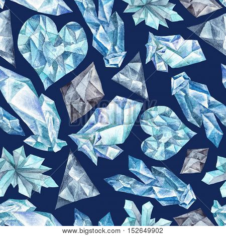 Seamless hand-painted Winter Crystal ice texture on indigo background