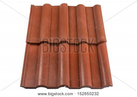 Red roof tiles isolated on white background