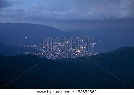 View of Yalta city from the Ai-Petri Mountain. Night Crimea landscape