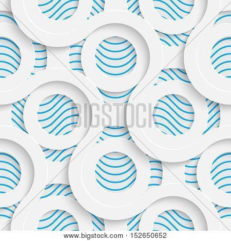 Seamless Circle Pattern. White and Blue Minimalistic Ornament. Geometric Decorative Wallpaper. Abstract Fashion Background. Print Graphic Design.