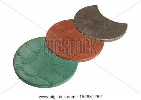 Red stones pavement on a white background