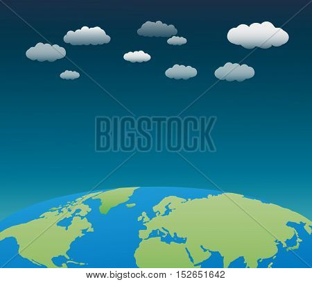 The world with clouds background vector eps10