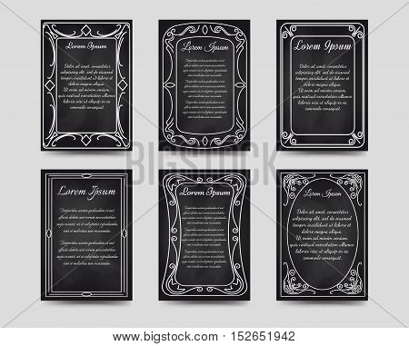 Black chalkboard cards with hand drawn vintage frame. Vector illustration