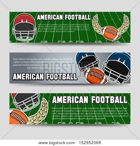 American football banners template with equipment. Vector illustration