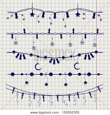 Ball pen sketch of christmas garlands on notebook page. Vector illustration
