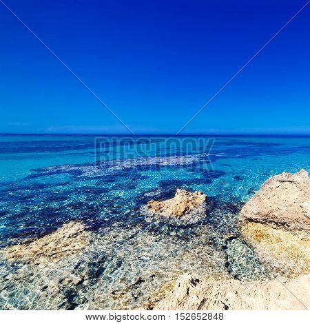 Blue sea blue sky and Paradise Tropical beach / Vacation holidays background