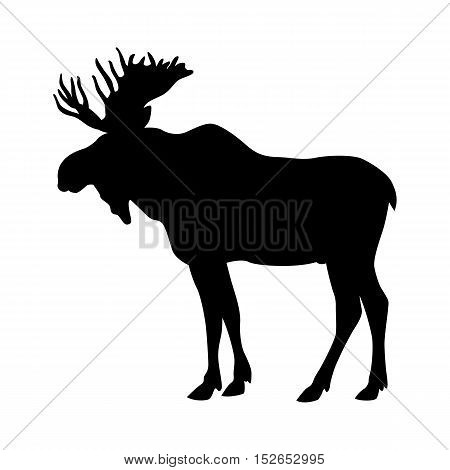 moose elk vector illustration black silhouette profile