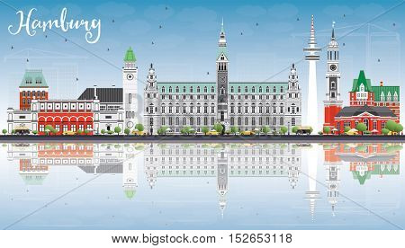 Hamburg Skyline with Gray Buildings, Blue Sky and Reflections. Vector Illustration. Business Travel and Tourism Concept with Historic Architecture. Image for Presentation Banner Placard and Web Site.