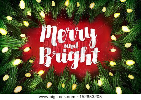 Merry And Bright Christmas Greeting Card With Pine Wreath And Holiday Greetings On Red
