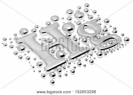 Small Mercury (hg) Metal Sign With Drops