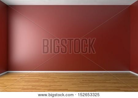 Empty room with red walls brown hardwood parquet floor and soft skylight from window simple minimalist interior architecture background with copy-space 3d illustration