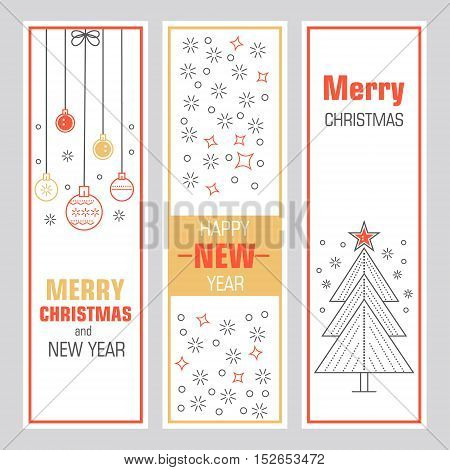 Christmas template vertical banners with symbols of the new year are ideal for your design.