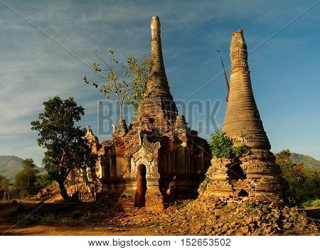 Ruined buddhist stupas in Inn Dein Myanmar