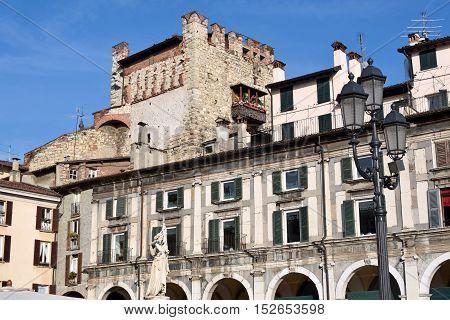 The ancient Burned Tower of Piazza della Loggia in Brescia - Italy