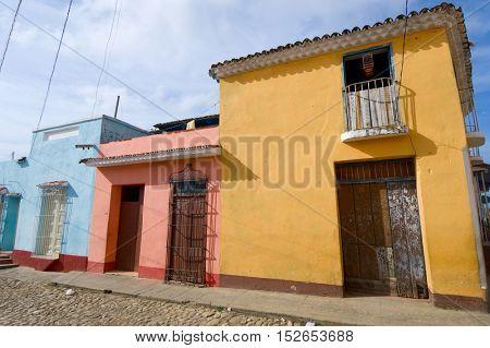 Facade in Trinidad village, Cuba.