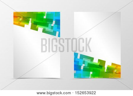 Front and back dynamic geometric flyer template design. Abstract template with orange, blue and green rectangles and squares in digital mosaic style. Vector illustration