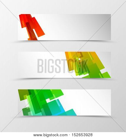 Set of header banner geometric design with orange, blue, red and green rectangles and squares in digital mosaic style. Vector illustration