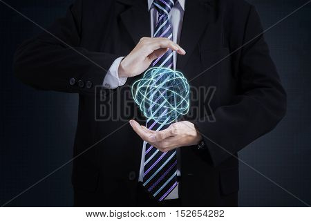 Close up to businessman standing and holding digital globe with connection lines 3d rendering