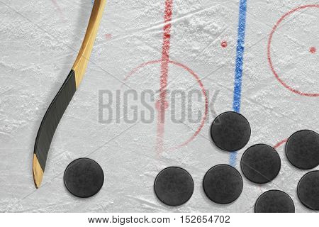 Sticks pucks and hockey field with marking. Concept hockey