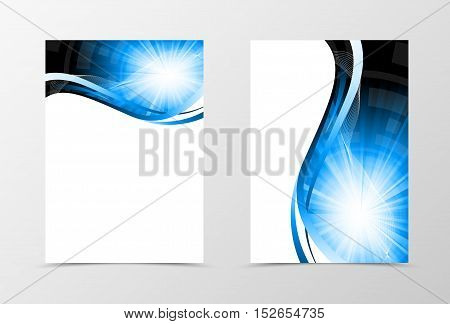 Front and back dynamic wave flyer template design. Abstract template with blue lines and digital futuristic geometric background with radiant effect. Vector illustration