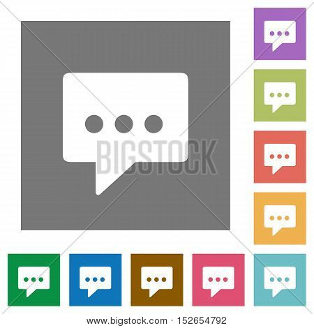Flat working chat icons on simple color square background.