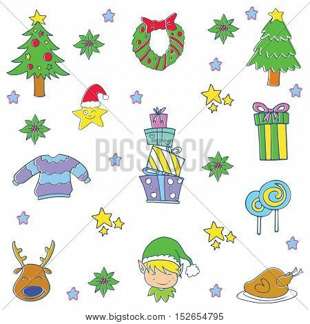 Doodle of christmas items set gift spruce candy vector illustration