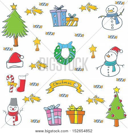 Doodle of objects color christmas vector illustration