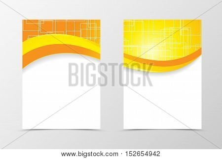 Front and back technologic wave flyer template design. Abstract template with orange and yellow lines and digital geometric square background. Vector illustration