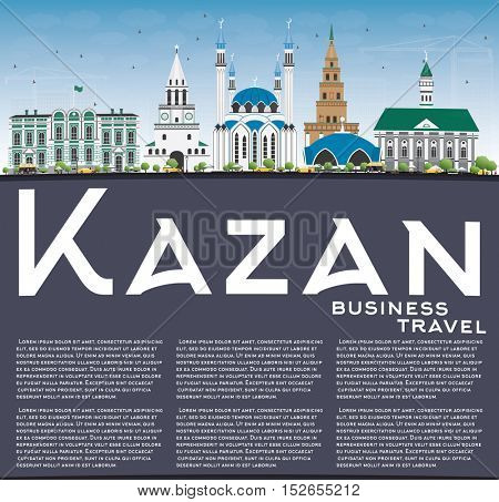 Kazan Skyline with Gray Buildings, Blue Sky and Copy Space. Business Travel and Tourism Concept with Historic Architecture. Image for Presentation Banner Placard and Web Site.