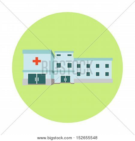 Stock vector illustration with contemporary multistorey hospital
