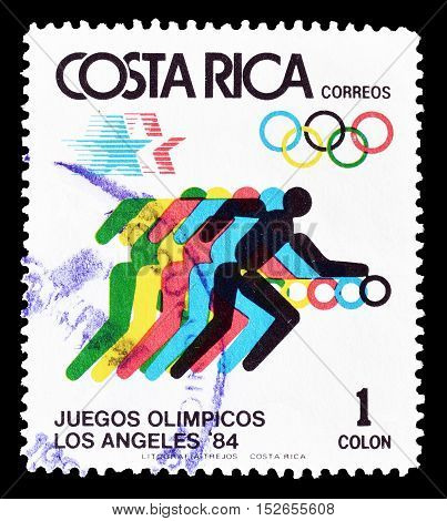 COSTA RICA - CIRCA 1984 : Cancelled postage stamp printed by Costa Rica, that shows Olympic sports.