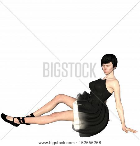 One well-groomed young woman in a black dress. She sits on the floor and turned his left side to the camera. Look at the camera. 3D rendering, 3D illustration