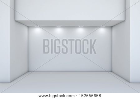 Empty storefront with lights. 3D illustration. Template for design