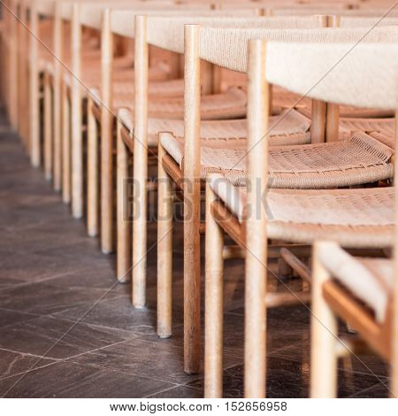 Rows Of Seats Inside Church, Selective Focus