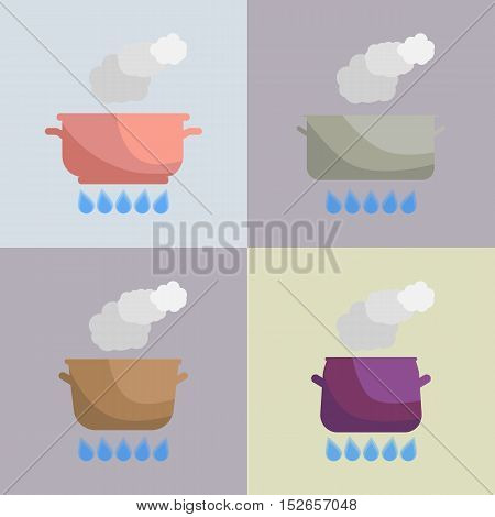 Set of boiling pot on the gas. Kitchen utensils. Vector Illustration.