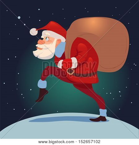 Santa Claus with big sack of gifts for Christmas greeting card background poster character vector illustration.