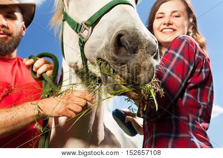 Close-up portrait of happy young couple feeding their white horse