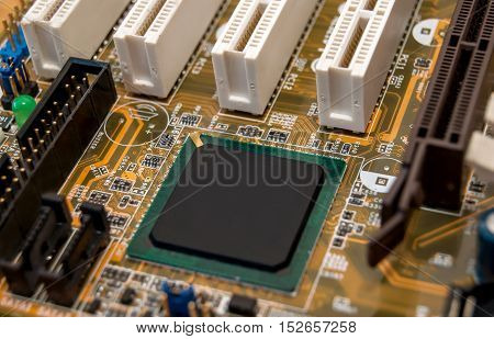computer motherboard close up. Abstract technological background