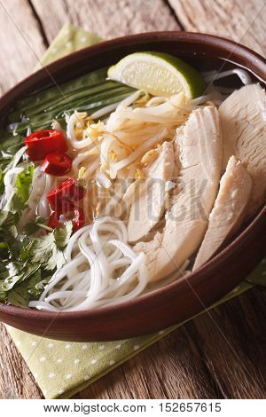 Vietnamese Soup Pho Ga With Chicken And Rice Noodles, Bean Sprouts Close-up. Vertical