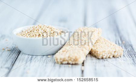 Quinoa Bars On A Wooden Table (selective Focus)