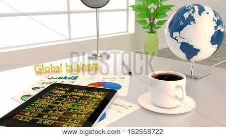 Global business concept with an office desk charts a tablet with stock ticker 3D illustration