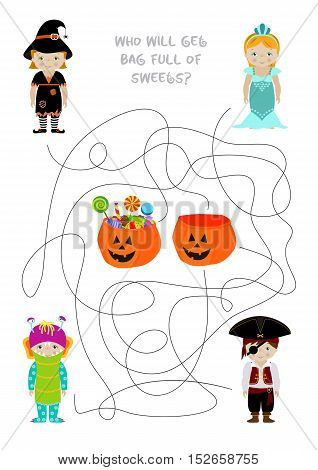 Halloween themed vector maze game, Who will get pumpkin bag full of sweets. Answer - monster. A4 format ready for print.