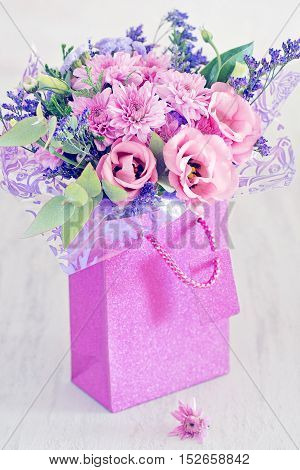 Beautiful bouquet of flowers. Floral gift for a wedding or birthday.