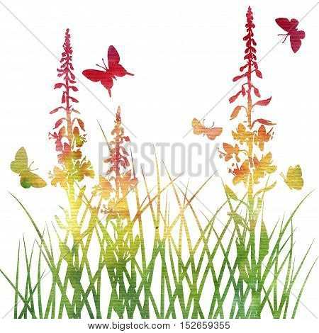 multicolor silhouettes of flowers and grass with butterflies, watercoolor background with wild plants and insects, herbal backdrop, color floral template, hand drawn illustration
